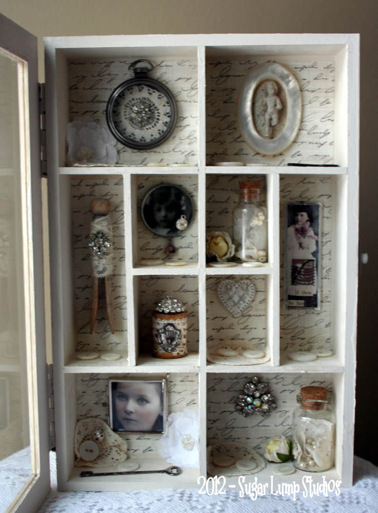 shabby heart altered cabinet - sugarlumpstudios